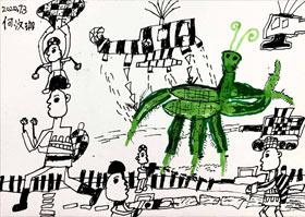 螳螂巨兽入侵-儿童画基础A班2020年7月3日◆春季班◆新起点画苑-学生作品