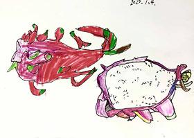 火龙果写生-儿童画创想班-2020年7月4日◆春季班◆新起点画苑-学生作品