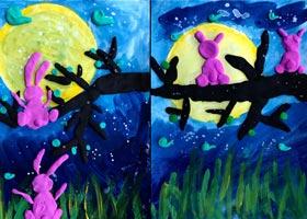 月圆之夜-儿童画创想B班-2020年9月19日 ◆秋季班◆ 新起点画苑