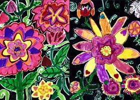 花色彩对比-儿童画创想A班-2020年10月16日◆秋季班◆新起点画苑-学生作品