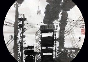 工厂黑烟囱-国画基础班-2020年10月25日◆秋季班◆新起点画苑-学生作品