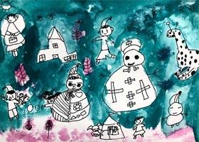 堆雪人-儿童画启智班-2020年1月8日◆秋季班◆新起点画苑-学生作品