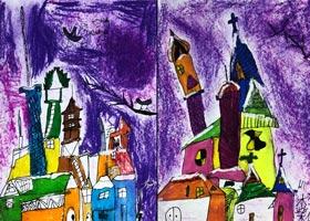 小镇雪景-儿童画基础班-2021年1月10日◆秋季班◆新起点画苑-学生作品