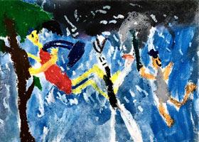 暴风雨中的人-儿童画基础班-2021年3月7日◆春季班◆新起点画苑
