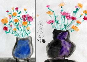 康乃馨-国画基础班-2021年5月9日◆春季班◆新起点画苑-学生作
