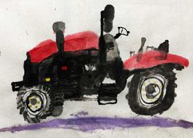 拖拉机写生-国画班-2021年7月20日★暑假班★新起点画苑-学生作品