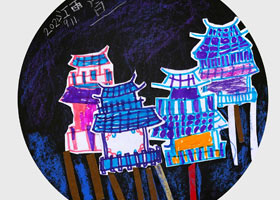 吊脚楼-儿童画基础班-2021年9月11日◆秋季班◆新起点画苑-学生作品