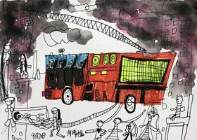 火灾现场-儿童画创想B班-2021年9月19日◆秋季班◆新起点画苑-