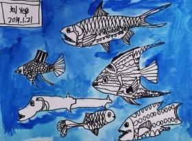 观赏鱼-儿童画班-2019年1月21日 ◆寒假班◆ 新起点画苑【新围店】学生作品
