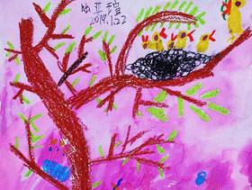 妈妈和鸟宝宝-儿童画班-2019年1月22日 ◆寒假班◆ 新起点画苑【新围店】学生作品
