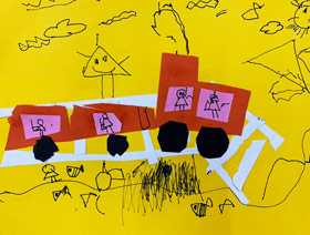 小火车-儿童画启智班-2019年3月9日 ★春季班/新围店★ 新起点画苑-学生作品