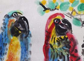 鹦鹉-国画班-2019年3月31日 ★春季班/新围店★ 新起点画苑-学生作品