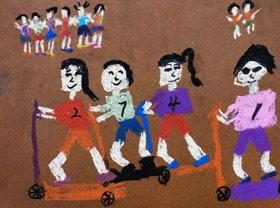 滑板车比赛-儿童画创想A班-2019年4月13日【春季班/高峰店】新起点画苑-学生作品