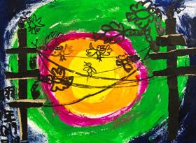 电线杆上的小鸟-儿童画启智B班-2019年4月19日【春季班/高峰店】新起点画苑-学生作品