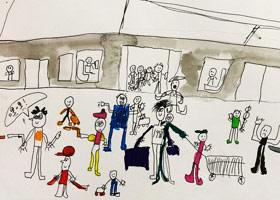 地铁站台-儿童画创想A班-2019年4月20日【春季班/高峰店】新起点画苑-学生作品