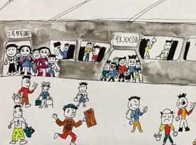 地铁站台-儿童画创想B班-2019年4月20日【春季班/高峰店】新起点画苑-学生作品