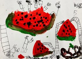 蚂蚁搬西瓜-儿童画启智班-2019年4月20日 ★春季班/新围店★ 新起点画苑-学生作品