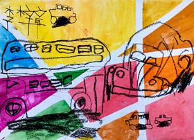 汽车写生-儿童画基础班-2019年4月20日 ★春季班/新围店★ 新起点画苑-学生作品