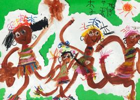 非洲人的舞蹈-儿童画启智A班-2019年4月26日【春季班/高峰店】新起点画苑-学生作品