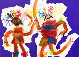 非洲人的舞蹈-儿童画启智B班-2019年4月26日【春季班/高峰店】新起点画苑-学生作品