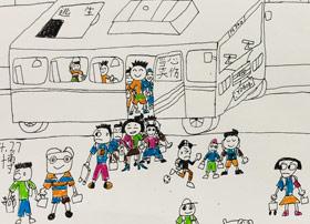 坐公交车-儿童画创想B班-2019年4月27日【春季班/高峰店】新起点画苑-学生作品