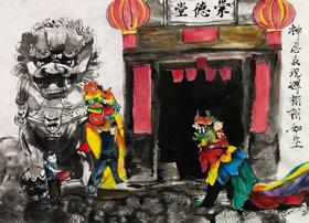 舞狮-国画大师班-2019年5月18日【春季班/高峰店】新起点画苑-学生作品
