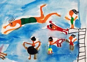 游泳-儿童画基础班-2019年5月18日【春季班/高峰店】新起点画苑-学生作品
