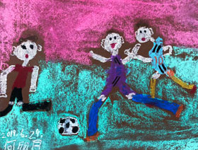 踢足球-儿童画基础班-2019年6月29日【春季班/高峰店】新起点画苑-学生作品