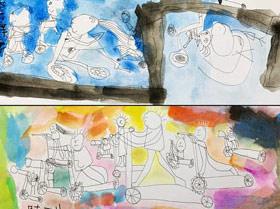 一起玩滑板车-儿童画基础班-2019年7月6日 ★春季班/新围店★ 新起点画苑-学生作品