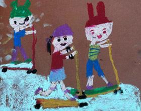 玩滑板车-儿童画班-2019年7月13日 ★暑假班/高峰店★ 新起点画苑-学生作品