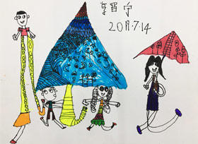 下雨了-儿童画班-2019年7月14日 ◆暑假班/新围店◆ 新起点画苑-学生作品
