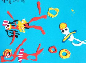 游泳(黏土)-儿童画班-2019年7月15日 ★暑假班/高峰店★ 新起点画苑-学生作品