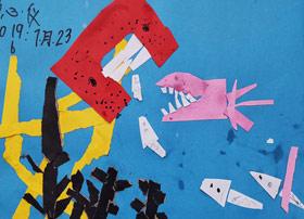 大鱼吃小鱼-儿童画班-2019年7月23日 ◆暑假班/新围店◆ 新起点画苑-学生作品