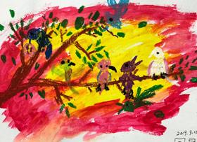 枝头上的小鸟-儿童画启智班-2019年9月12日 ◆秋季班/高峰店◆ 新起点画苑-学生作品