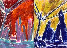 小镇剪影-儿童画基础A班-2019年11月15日 ◆秋季班/高峰店◆ 新起点画苑-学生作品