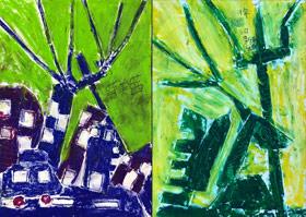 小镇剪影-儿童画基础B班-2019年11月16日 ◆秋季班/高峰店◆ 新起点画苑-学生作品