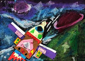 宇宙太空-儿童画大师A班-2019年11月22日 ◆秋季班/高峰店◆ 新起点画苑-学生作品