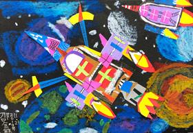 宇宙太空-儿童画大师B班-2019年11月23日 ◆秋季班/高峰店◆ 新起点画苑-学生作品