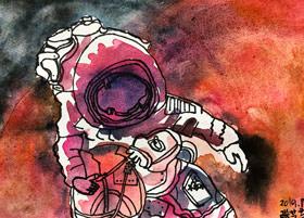 宇航员-儿童画大师A班-2019年11月29日 ◆秋季班/高峰店◆ 新起点画苑-学生作品