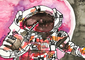 宇航员-儿童画大师B班-2019年11月30日 ◆秋季班/高峰店◆ 新起点画苑-学生作品