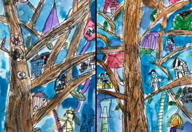 树屋-儿童画基础B班-2019年12月7日 ◆秋季班/高峰店◆ 新起点画苑-学生作品