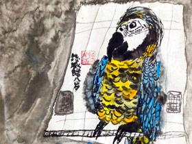 笼中鹦鹉-国画基础班-2019年12月14日 ◆秋季班/高峰店◆ 新起点画苑-学生作品