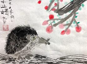 刺猬-国画基础班-2019年12月21日 ◆秋季班/高峰店◆ 新起点画苑-学生作品