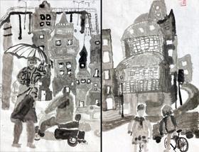 水墨街角-国画基础班-2020年1月4日 ◆秋季班/高峰店◆ 新起点画苑-学生作品