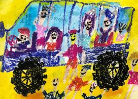 公交车-儿童画启智班-2020年1月3日 ◆秋季班/高峰店◆ 新起点画苑-学生作品