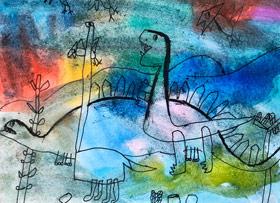 恐龙-儿童画基础A班-2020年1月10日 ◆秋季班/高峰店◆ 新起点画苑-学生作品