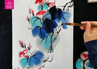 第二节:牵牛花(国画教程)-新起点画苑/2020年2月29日