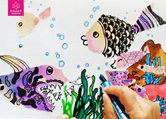 第三节:大鱼和小鱼(幼儿园/儿童画教程)-新起点画苑/2020年3月14日