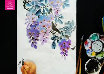 第五节:紫藤花(国画教程)-新起点画苑/2020年3月21日