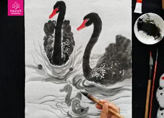 第六节:黑天鹅(国画教程)-新起点画苑/2020年3月28日